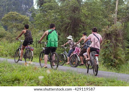 CAT BA, VIET NAM, May 27, 2016 Traveler groups cycling, walking nature reserve , forest Cat Ba , Hai Phong , Vietnam