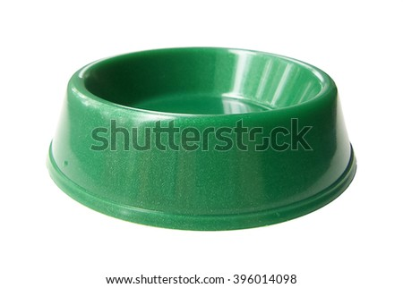Cat / dog / rodent feeding green bowl; isolated on white background