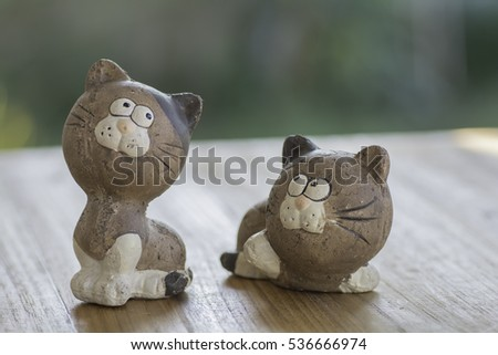 Cat Dolls Clay lovers on white background.