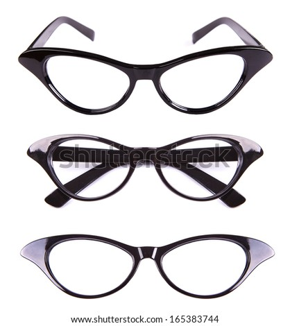 Cat eyes shaped retro glasses isolated on white - stock photo