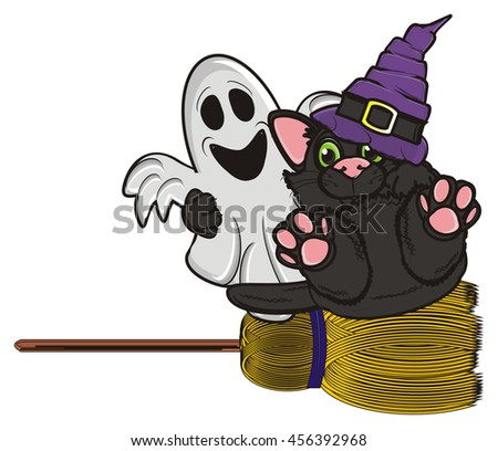 cat flying on a broomstick embracing cast