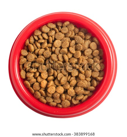 Cat food in bowl isolated on white, clipping path. - stock photo