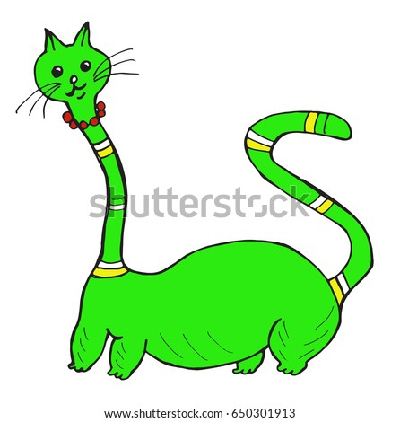 cat graphic color ink cartoon green