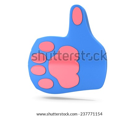 cat hand thumb up  social media like - stock photo