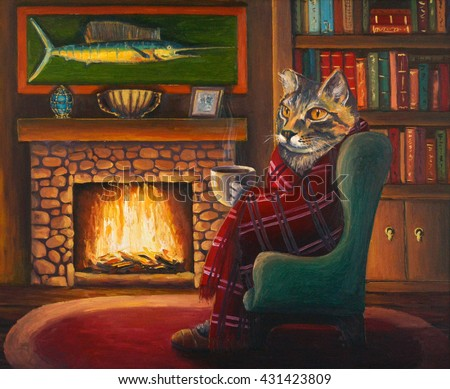 Cat In A Chair By The Fireplace, Wrapped In A Blanket, Drink Hot Tea