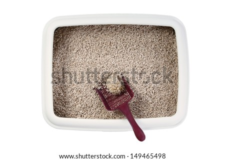 cat litter box with biodegradable pine wood chips - stock photo