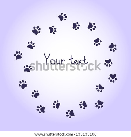 Cat or dog paw prints violet round frame for your text background. Raster version, vector file also available in my port. - stock photo