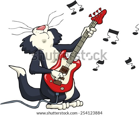 Cat playing on electric guitar raster version - stock photo