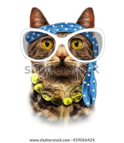 Cat print,cat graphic,cat illustration,cat pattern,cat design,cat graphic,cat wallpaper,Funny cat,T-shirt Print,i love you,Valentine's Day,animal print,cat poster,cat drawing,american cat,cat face - stock photo