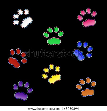 Cat prints in the night - Neon effect - stock photo
