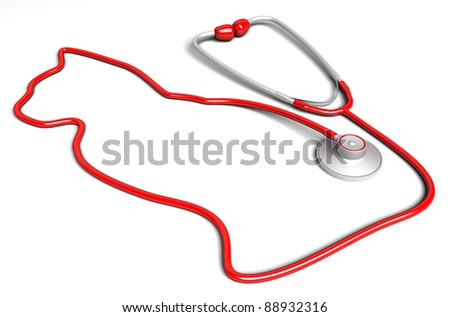 Cat-shaped stethoscope. Veterinary concept - stock photo