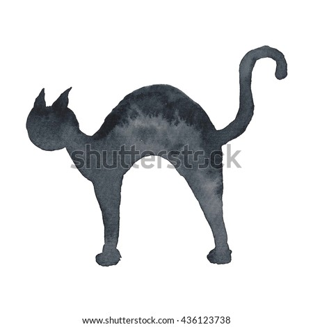 Cat Silhouette Black Halloween Holidays Watercolor hand-painted illustration  - stock photo