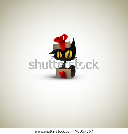 Cat Surprise in a Christmas Gift Box - stock photo