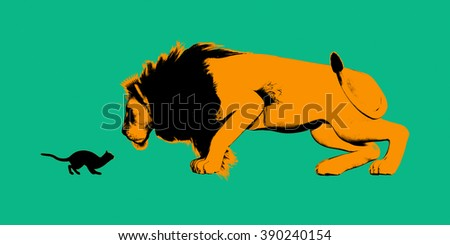 Cat Versus Lion Ready to Fight or Take On - stock photo
