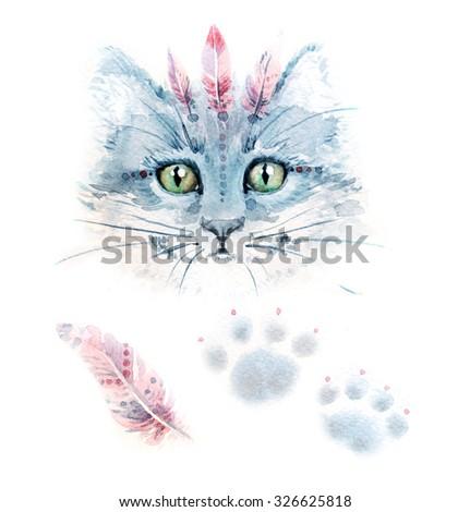 cat watercolor - stock photo