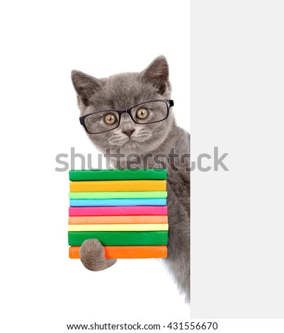 Cat wearing glasses holding books and peeking from behind empty board. isolated on white background - stock photo