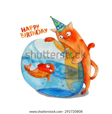 Cat with flower and fish in aquarium. Happy birthday. Watercolor illustration. Hand drawing - stock photo