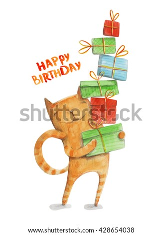 Cat with gift boxes. Happy birthday. Watercolor illustration. Hand drawing - stock photo