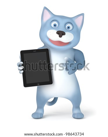Cat with tablet pc - stock photo