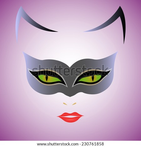 Cat Woman with green eyes in mask over violet background, hand drawing illustration - stock photo