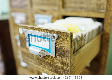 Catalog cards in library - stock photo