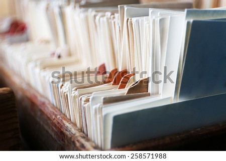 Catalog cards in library, closeup - stock photo