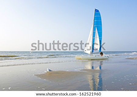 Catamaran at the beach from the north sea in the Netherlands - stock photo