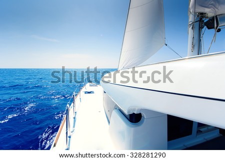 Catamaran deck at sunny day - stock photo