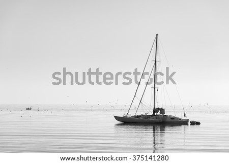 Catamaran floating  on calm water in the morning at mediterranean sea. Black and white photography - stock photo