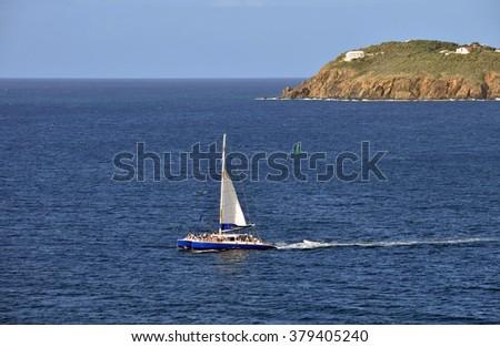 Catamaran near St Thomas in the US Virgin Islands - stock photo