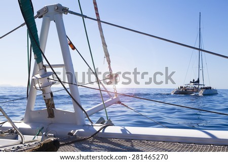 Catamaran Sailing Boat with sunshine