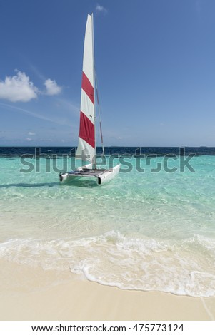Catamaran sailing in the Maldives
