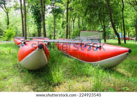 Catamarans for rafting in the park training camp  - stock photo