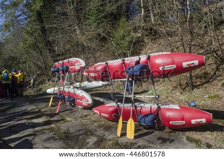 Catamarans in Carpathian mountains, Svicha river, standing on the rocks before competitions - stock photo