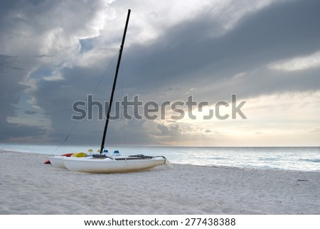 Catamarans on the Beach in Varadero Cuba - stock photo