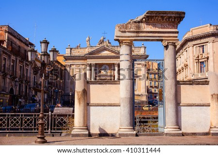 CATANIA, ITALY - MARCH, 31: View of the Roman amphitheater in Stesicoro square on March 31, 2016 - stock photo