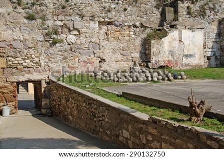 Catapult stone (Historical Sinop Prison). Sinop,TURKEY - stock photo