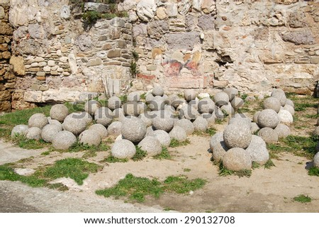Catapult stone.Sinop Castle. At the tip of the Black Sea in Turkey. - stock photo