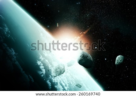 Catastrophic meteor impact - stock photo