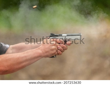 Catch a Bullet. Outdoor Shooting Range - stock photo