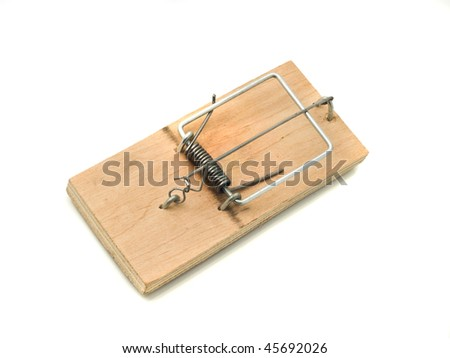 Catch it - Mousetrap over white background