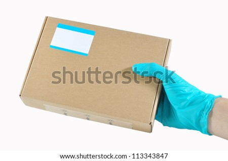 Catch two box in a hand, Isolated box with hand.