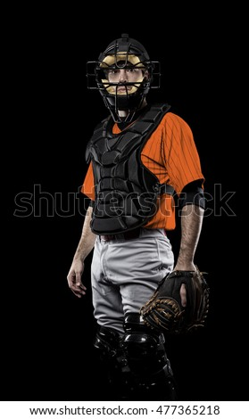 Catcher Player with a orange uniform on a black background.