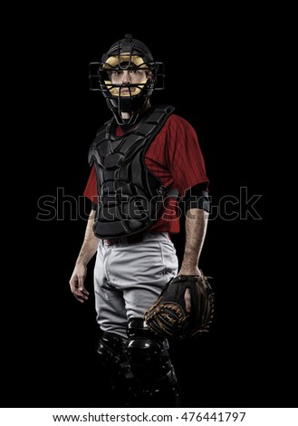Catcher Player with a red uniform on a black background.