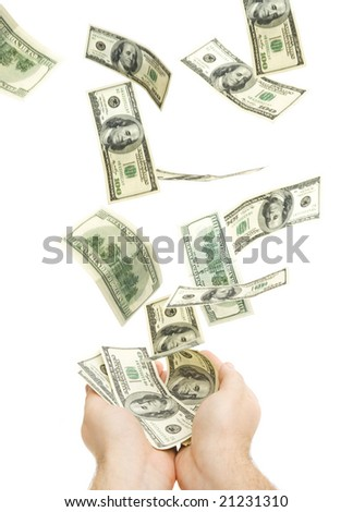 catching hundreds of dollars isolated against white background