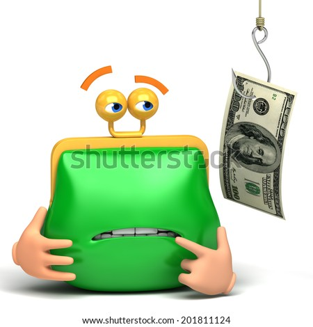 catching purse money white background - stock photo