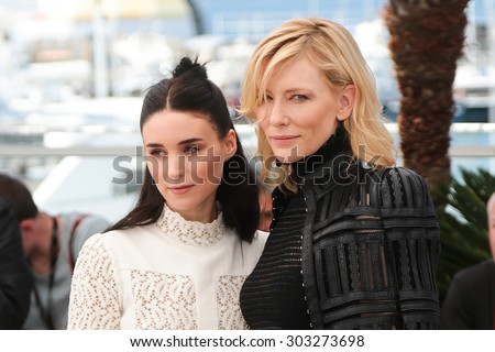 Cate Blanchett, Rooney Mara,  attend the 'Carol' Photocall during the 68th annual Cannes Film Festival on May 17, 2015 in Cannes, France. - stock photo