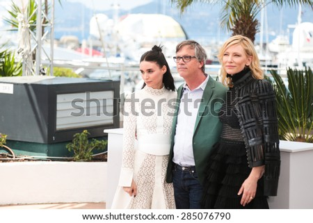 Cate Blanchett, Rooney Mara, Todd Haynes attend the 'Carol' Photocall during the 68th annual Cannes Film Festival on May 17, 2015 in Cannes, France. - stock photo