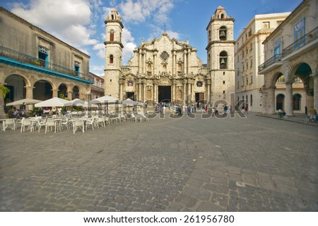 Catedral de la Habana, Plaza del Catedral, Old Havana, Cuba - stock photo