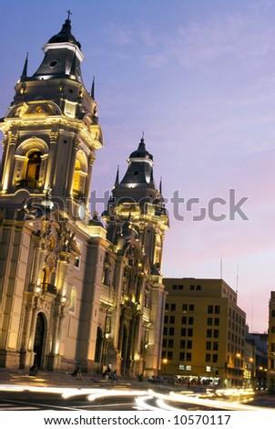 catedral on plaza de armas mayor lima peru night scene with movement streaks - stock photo